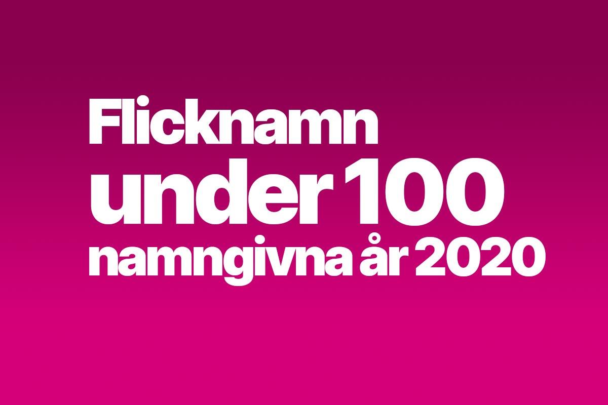 Flicknamn under 100 namngivna
